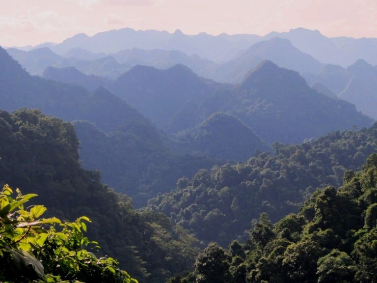 limestone mountains in Phong Nha Ke Bang National Park, seen from the Western Ho Chi Minh Road