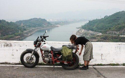 Honda FTR parked at Hoa Binh Dam