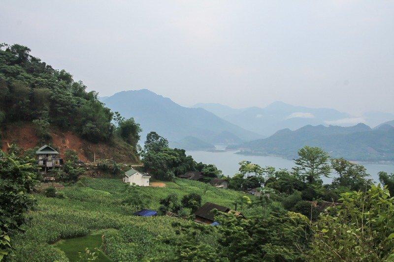 lakeside houses in Mai Chau, North Vietnam