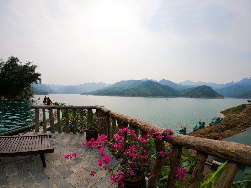 the Mai Chau Hideaway Resort in the evening