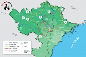 Map of Northern Vietnam Tour Routes