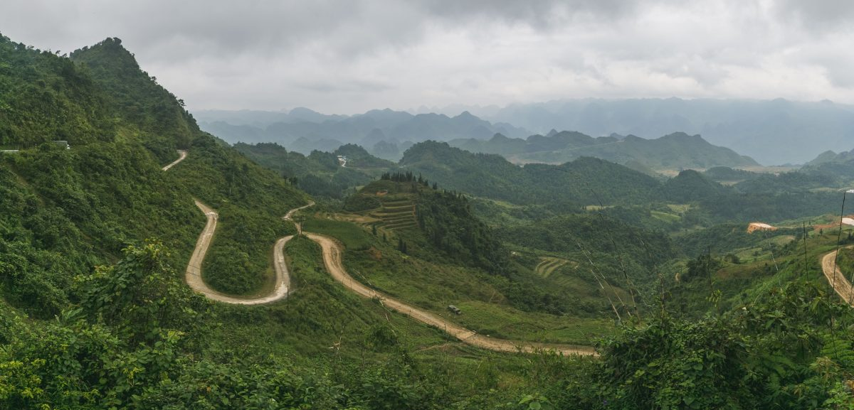 a winding mountain pass in Dong Van, North Vietnam