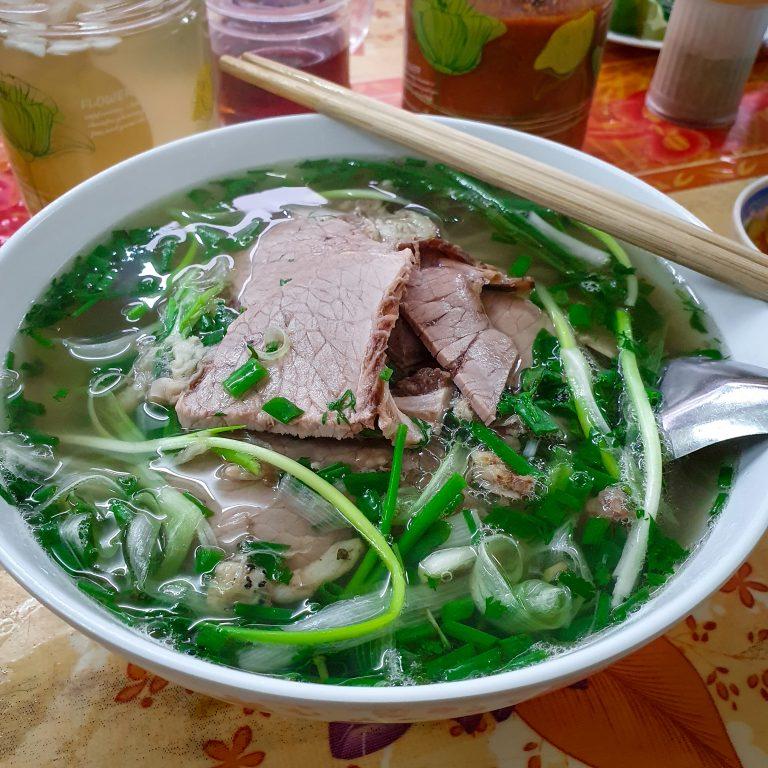 a bowl of pho bo in Hai Ba Trung District, Hanoi