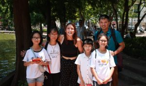 Ellie with English students in Hanoi