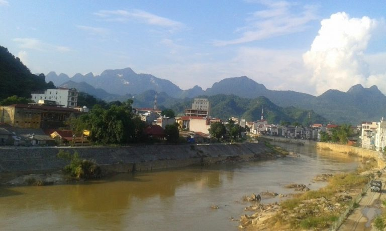 view from the Thuy Tien Guesthouse: despite its frontier reputation, I warm to Ha Giang City