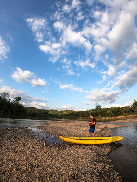 kayaking at sunset in Cat Tien National Park