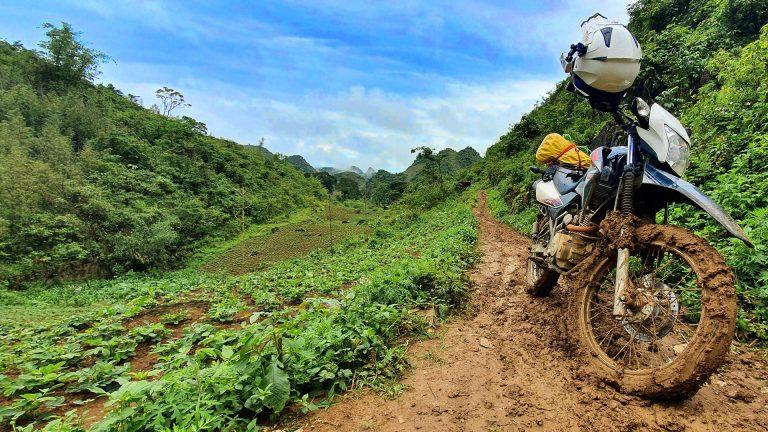 Honda XR on a muddy road in Mai Chau, North Vietnam