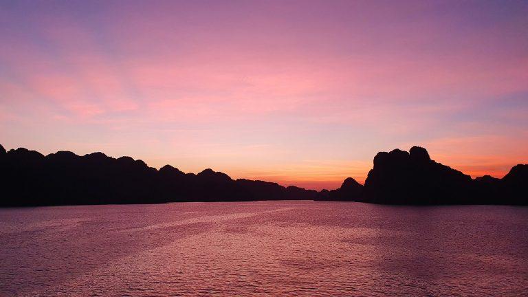 pink sunset in Ha Long Bay, Vietnam