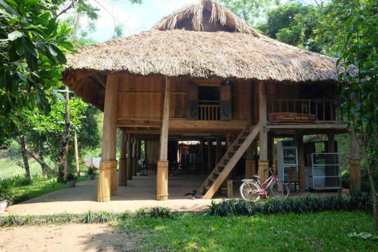 a stilt house homestay in Ba Khan