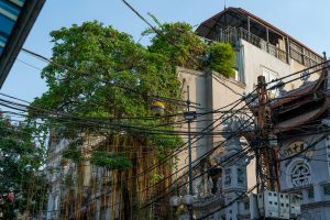 trees, an apartment and a temple in Hanoi's Old Quarter