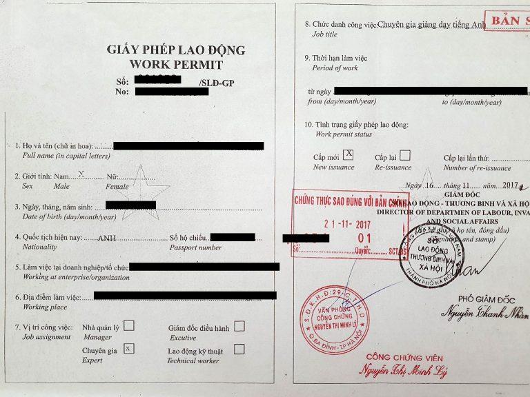 photocopy of a Vietnamese work permit