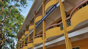 typical ochre school building in Hanoi
